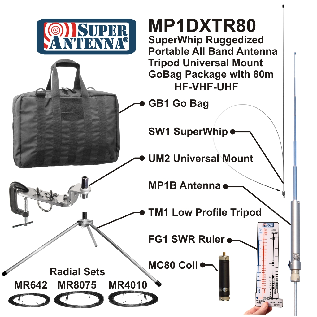 MP1DXTR80 SuperWhip Ruggedized        Tripod Antenna with Go Bag All Band HF-VHF Antenna Package MP1B        Antenna, SW1 SuperWhip, TM1 Tripod, UM1 Universal Mount, GB1 Go        Bag, MR4010 Radial Set, FG1 SWR Ruler