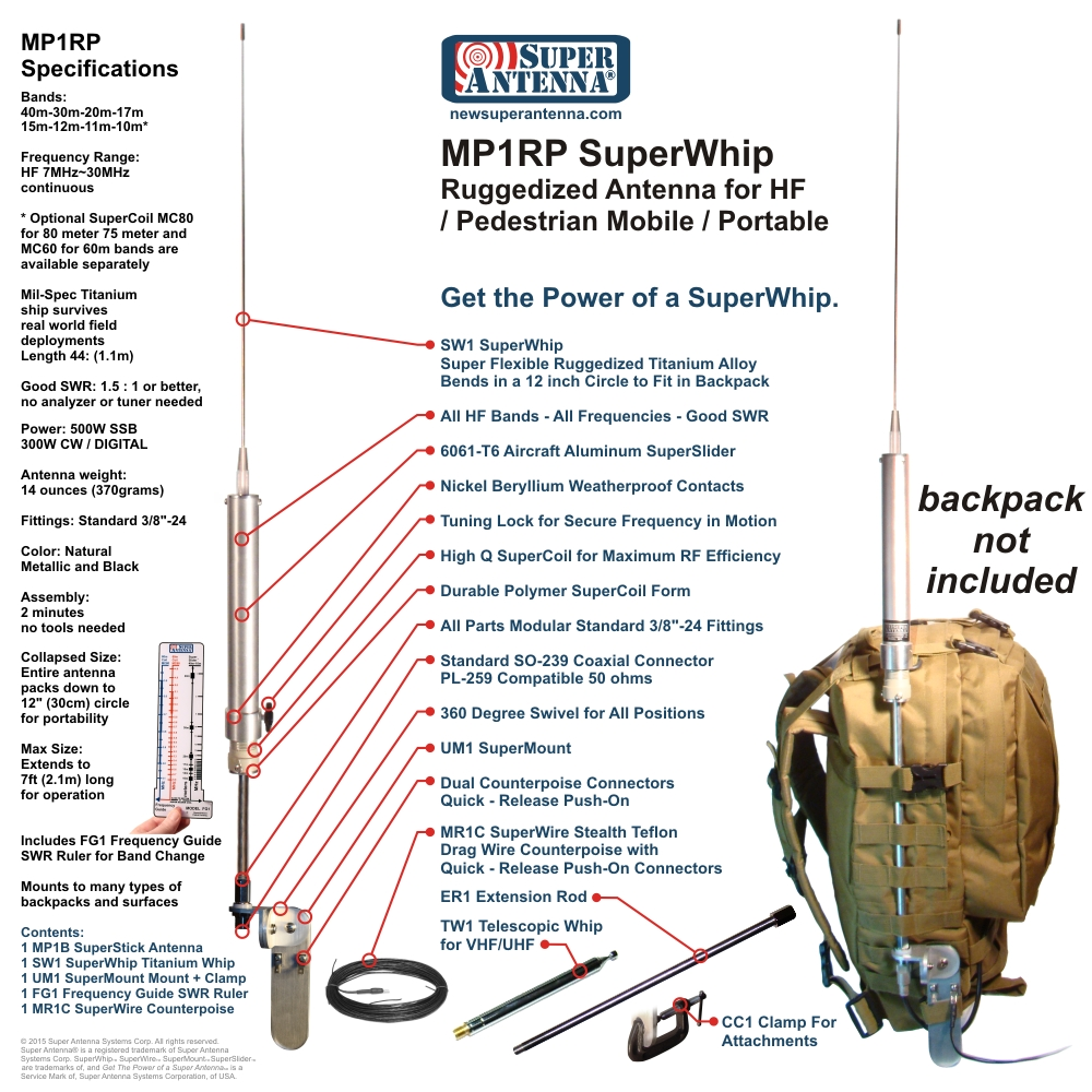 MP1RP SuperWhip Ruggedized Pedestrian Backpacking Antenna All Band HF-VHF Antenna Package MP1B Antenna +SW1 SuperWhip +UM1 Mount MR1C Counterpoise Radial Set +FG1 SWR Ruler