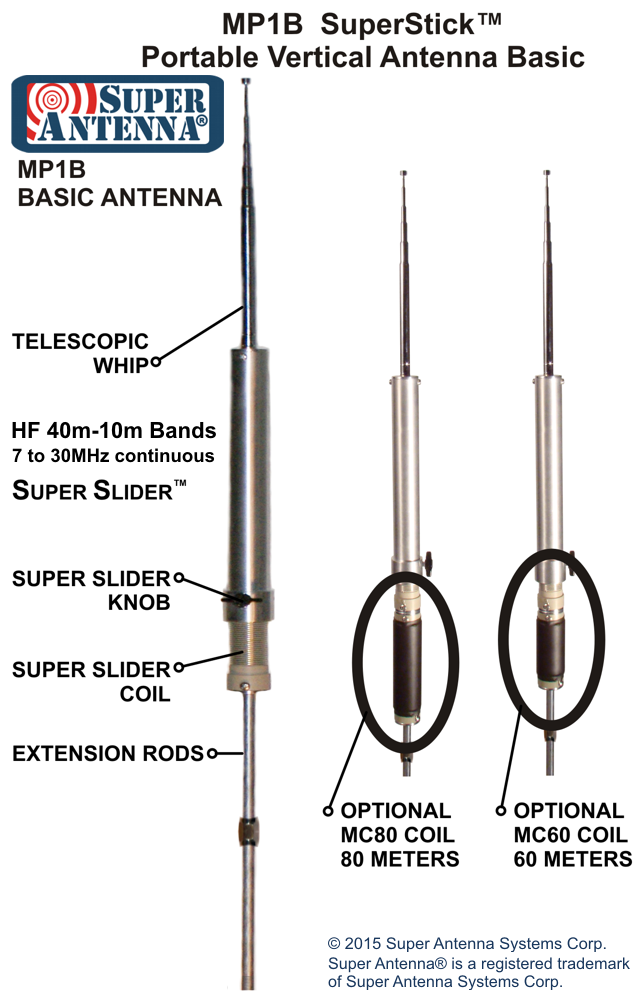 MP1B SuperStick Portable Vertical Antenna Basic - without mount