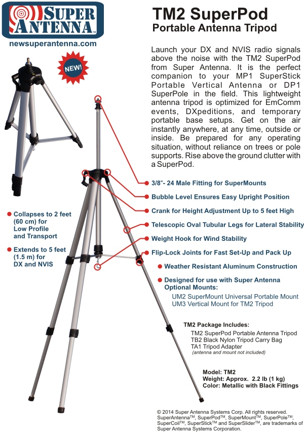 Super Antenna TM2 SuperPod Large Tripod Features