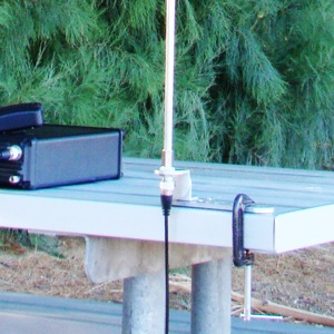 Super Antenna UM2 Attached to Picnic Table (radio and antenna not included)